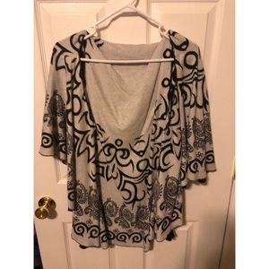 Sweaters - Black and white printed poncho